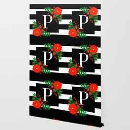 P - Monogram Black and White with Red Flowers Wallpaper