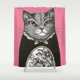 Pink Cat - Ink and acrylic cat art Shower Curtain
