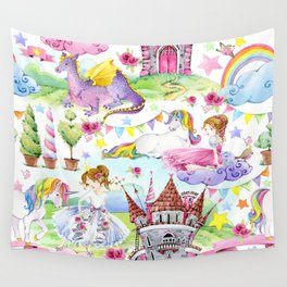 Princess with Unicorns and Dragons Wall Tapestry