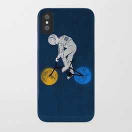 Astronaut on bicycle iPhone Case