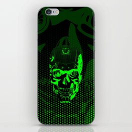 Gamer Skull CARTOON GREEN / 3D render of cyborg head iPhone Skin