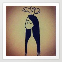 Birdie lady Art Print