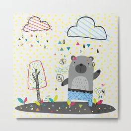 THE BEAR IN THE RAIN Metal Print