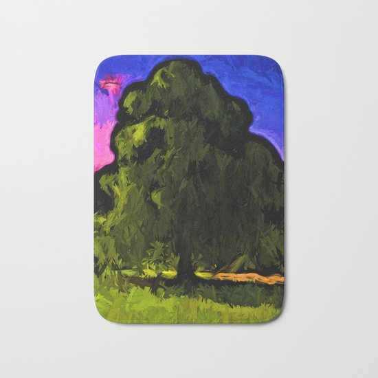 Green Tree with a Pink and Blue Sky Bath Mat