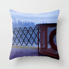 Morning view on The SI Ferry Throw Pillow