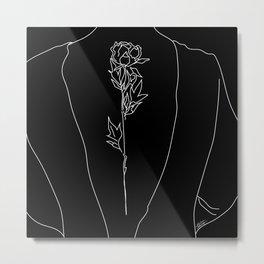 Feminine Floral Back Tat Metal Print