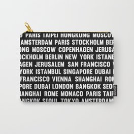 Famous City pattern black & White Carry-All Pouch