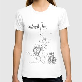Two Tailed Duck and Jellyfish White T-shirt