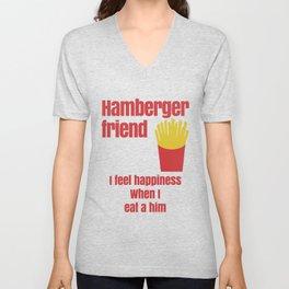 HAMBERGER FRIEND FUNNY Unisex V-Neck