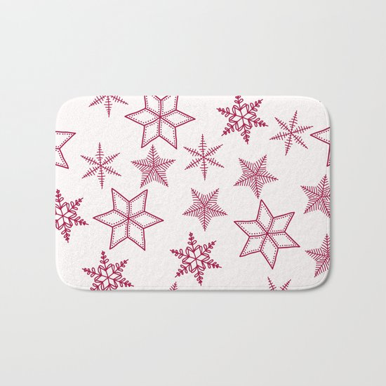 Red Snowflakes On White Background Bath Mat