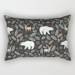 Winter art. Deer and bear Rectangular Pillow
