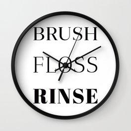 Brush - Floss - Rinse - Bathroom Quote Wall Clock
