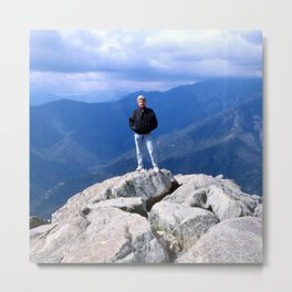 Self-Portrait At Edge Of Mountain Cliff Metal Print