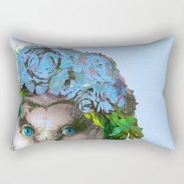 Cool Animal Art - Owl with a Flower Crown Rectangular Pillow