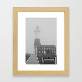 Foggy Entrance of Montauk Lighthouse Framed Art Print