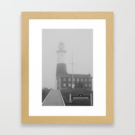 Foggy Entrance of Montauk Lighthouse Framed Art Print