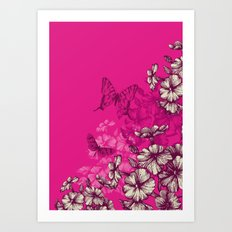Vintage butterfly wallpaper- magenta Art Print