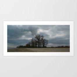 Steam Clouds Treeline Art Print