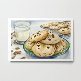 Chocolate Chip Cookie with Almond Milk Metal Print