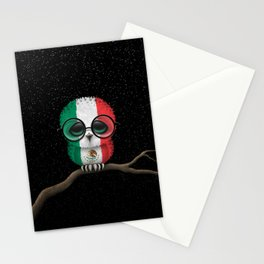 Baby Owl with Glasses and Mexican Flag Stationery Cards