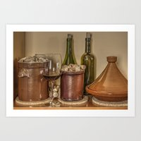 Still Life with a Glass of Red Vine, Corks and Tagine Art Print