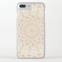 Brown Tan Intricate Detailed Hand Drawn Mandala Ethnic Pattern Design Clear iPhone Case