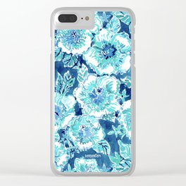 HIBISCUS BOUNTY Blue Tropical Watercolor Clear iPhone Case