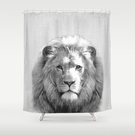 Lion - Black & White Shower Curtain