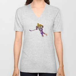 Skater with stick in watercolor Unisex V-Neck