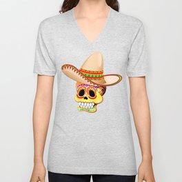 Mexico Sugar Skull with Sombrero Unisex V-Neck