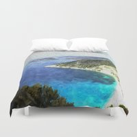 greek Duvet Covers featuring Greek coastline by Brian Raggatt