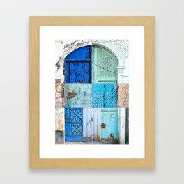 Blue Door Puzzle Framed Art Print