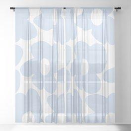 Large Baby Blue Retro Flowers White Background #decor #society6 #buyart Sheer Curtain