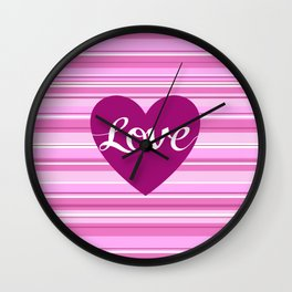 Love Script Heart on Stripes Pinks White Plum Wall Clock