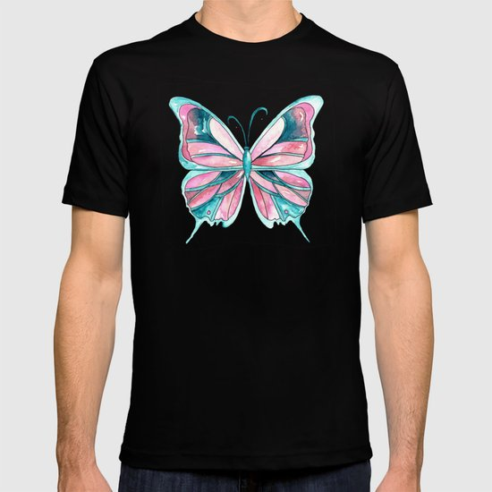 Pink and Blue Watercolor Butterfly T-shirt
