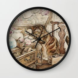 Tom Kitten looking for mice Wall Clock