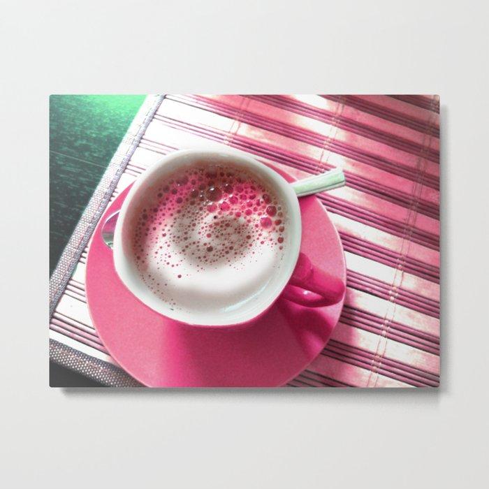 Coffee in Pink Metal Print