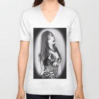 goth V-neck T-shirts featuring Portrait Goth by Kuro hana
