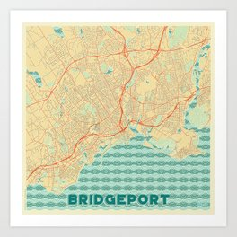 Bridgeport Map Retro Art Print