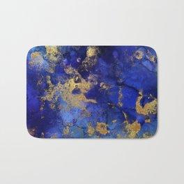 Gold And Blue Indigo Malachite Marble Bath Mat