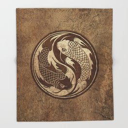 Yin Yang Koi Fish with Rough Texture Effect Throw Blanket