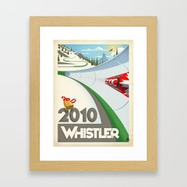 "Minimalist Whistler ""Olympic Boblsed"" Travel Poster Framed Art Print"