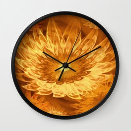 Fantasy Flowers Yellow Wall Clock