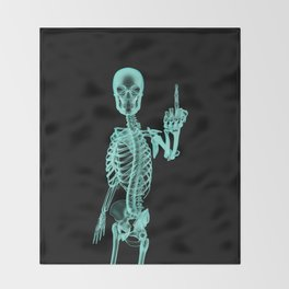 X-ray Bird / X-rayed skeleton demonstrating international hand gesture Throw Blanket