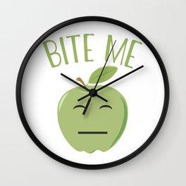 Cool Emoticon Bite Me Apple Wall Clock