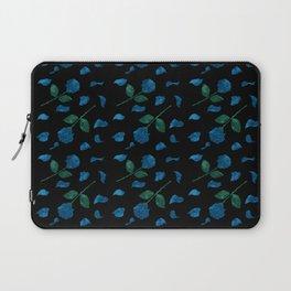 Blue roses with petals aquarela effect on black background pattern Laptop Sleeve