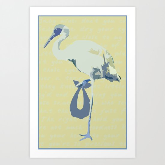 Baby Mine - cornflower blue/canary yellow Art Print