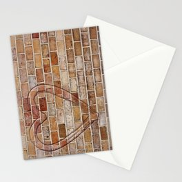 heart on the brick wall Stationery Cards