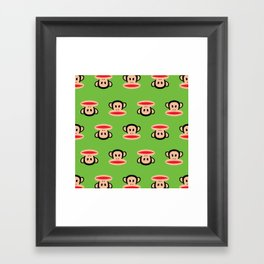 Julius Monkey Pattern by Paul Frank - Green Framed Art Print