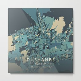 Dushanbe, Tajikistan - Cream Blue Metal Print